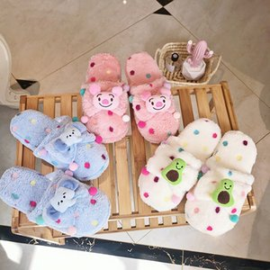 Inverno New Color Polka Dot Plush Chinelos bonito dos desenhos animados Quente Abacate Pig Cotton Slippers Elephant Chinelo