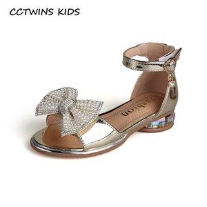 CCTWINS Çocuk Ayakkabı 2020 Yaz Çocuk Kelebek Topuk Bebek Marka Yapay elmas Prenses Sandalet Kız Moda İnci Ayakkabı PS884