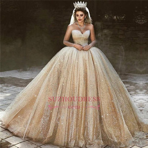 2020 Superbe luxe d'or bal robe de mariage Sheer manches longues Paillettes balayage train arabe Quinceanera Pageant Robes BC0953