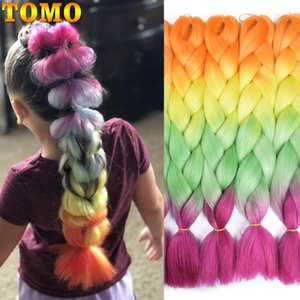 Jumbo Braids TOMO 24 Inch Long Xpression Braiding Hair Extensions Jumbo Crochet Braids Synthetic Hair style 100g Pc Pure Blonde Pink Green