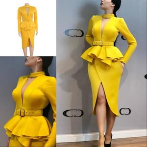 2020 Barato Vestidos de Noite Das Mulheres de Manga Longa Mid-Calf Falbala Assimétrica Padrão-Cintura Vestidos de Baile Escritório Senhora Bainha Na Altura Do Joelho-Comprimento vestido
