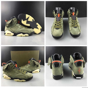 6 Release Travis X Medium Olive Houston Men Basketball Shoes S Cactus Jack Black-sail-university Red Mens Designer Sneakers With Box