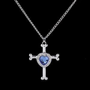 Blue Crystal Inlay Heart On Cross Cremation Jewelry Ashes Pendants for Pet/Human Keepsake Memorial Urn Necklace