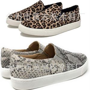 Atacado mulheres plus size sapatos Flats Leopard Cobra verão casuais sapato clássico Plano sapato sapato de lona de cabeça redonda slip-on Elastic elegante 0085