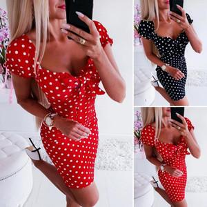 Yaz Elbise Kadınlar Kız Boho Polka Dot Seksi BODYCON Elbise Tatil Sundress Beachwear Yeni Bayan One Piece Pijama Ev Hizmet