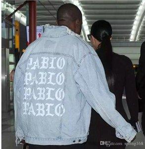 Kot Ceket Açık Mavi Denim Ceket Kanye batı PABLO Albüm Souvenir Heybig Swag Giyim Sokak Moda Hiphop erkekler kot ceketler