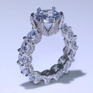 Taglia 5-11 Infinity Brand New Luxury Jewelry 925 Sterling Silver Taglio rotondo Artiglio del drago White Topaz Party Engagement Band Ring per le donne regalo