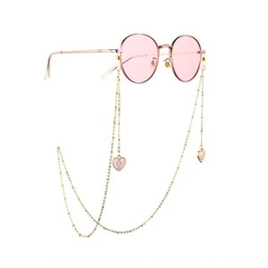 Personalized Nonskid Silicone women's metal drop oil Love shape chain silicone ring glasses anti-slip chain glasses accessories