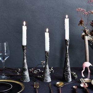 Nordic stile semplice di marmo Candeliere casa Tavolo Candeliere casa della festa nuziale decorazione Candlestick romantica cena a lume Holder