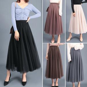 2019 Mode Jupes Femmes élastique taille haute Tulle maille Jupe longue jupe plissée