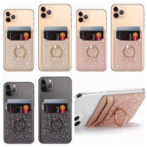Telefon Çubuk Nakit Kimlik Kredi Tutucu Case iPhone Most için Glitter Evrensel Metal Parmak Halkası Parantez Kart Yuvası 3M Sticker Deri Bling
