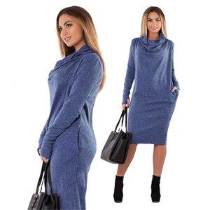 Womens Summer Dress Abiti 6XL 5Xl solido dei vestiti di nuovo donne di colore Grandi Dimensioni Primavera Autunno Dress Plus Size Abbigliamento Donna Casual Elegante