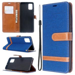 Jean Canvas Wallet cuir pour Samsung Galaxy A51 A71 A01 A21 S20 PLUS Ultra sangle flip carte Stand Holder Phone Housse luxe 1pcs