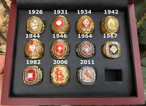 ST LOUIS 11pcs CARDINAL Championnat du monde Baseball Team Champions Anneau avec boîte en bois Souvenir Hommes Fan Cadeau 2020 de gros
