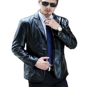 Trasporto di goccia uomini sciolti risvolto Giacca in pelle collare vestito chiaro morbido cappotto di cuoio Mens moto Plus Size M-7XL