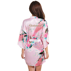 Wedding Bride Bridesmaid Floral Robe Satin Bathrobe Nightgown For Women Kimono Sleepwear Flower Maid of Honor Golden Word robe