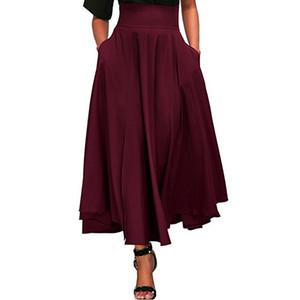 AOILDLLI 2019 женский Высокая талия юбка линия юбка длинный передний открытый галстук-бабочка пояс длинная юбка женская мода