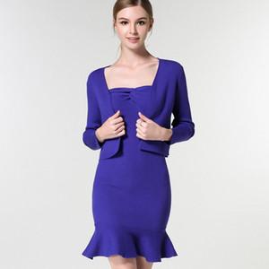 Pop2019 um conjunto mais roupas borda da folha de lótus europeus Wollens Hangzhou terno-vestido de tricô camisola terno saia