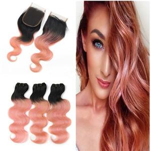 Ткет розовое золото, человеческие волосы с 4x4 Lace Closure Two Tone 1b Rose Pink Body Wave Lace Closure с узелками европейской Девы волос