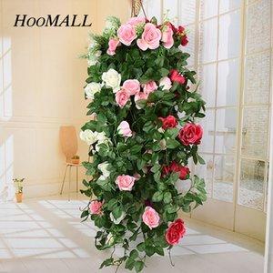 90cm Fake Silk Roses Rattan Hanging Garland Vine Artificial Flowers Green Leaves DIY Craft Home Wedding Decoration