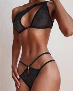 Mulheres Sexy Bras Briefs 2pcs Suits Bikini oco Out Designer um ombro Roupa Lace Mulheres biquini preto