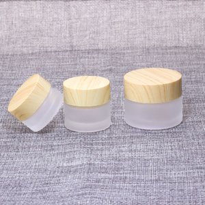Frosted Glass Face Cream Jar with Imitation Bamboo Wooden Lids 5g 10g 15g 30g 50g 100g Empty Cosmetic Makeup Cream Package Pot