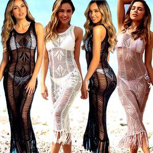 Kadınlar Plajı Kaftan Tığ Mayo Püsküller Giydirme Bikini Cover Up Elbise