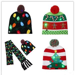 2019 новые светодиодные рождественские различные конструкции трикотажные Hat шарф для ребенка взрослых Санта-Клаус снеговика Олень Лось Фестивали Шляпы Xmas Party Подарки Cap