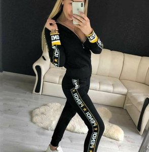 2019 Casual Trainingsanzug Frauen 2 Stück Set Sweatsuit Zipper Striped Trainingsanzug Langarm Sweatshirt + Pants Damen Sets
