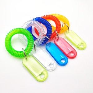 Molla di plastica bobina portachiavi Wristband Piscina bagagli Tag Anello mano trasparente supporto della catena telescopico Numero Key Card