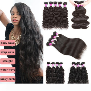8A Brazilian Peruvian Straight Virgin Body Wave Kinky Culry Human Hair Extensions 3 4 Bundle Malaysian Indian Deep Water Wave Hair Bundles