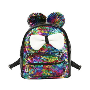 2020 Fashion Trend Kid Shining Sequins Backpack Girls Big bowknot Zip Up Casual Small Travel Shoulder School Bag Satchel Gift
