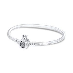 Boncuk Charms için Anlar Taç O Yılan Zincir Bileklik 925 ayar gümüş takı Bileklik Bileklik kadın takı yapımı için
