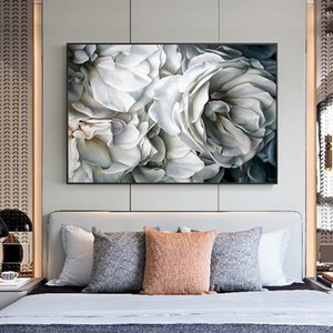 White Rose Abstract Flowers Canvas Paintings on the Wall Art Posters And Prints Flowers Nordic Art Wall Pictures For Living Room