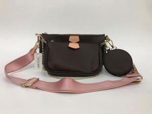 3 Stück / Set Lieblingsmulti Pochette Accessoires Handtasche aus echtem Leder L Blume Schulter Umhängetasche Damen Geldbörsen