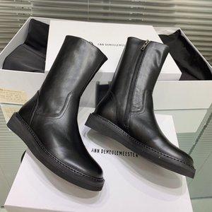 Hot Sale-Martin Zipper Bottes en cuir vachette Moyen Bottes Chaussures Femmes tête ronde bas talon combat bottillons chaussures 3cm avec boîte DHL bateau libre