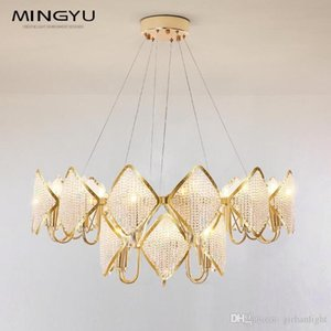 Post Modern Crystal Glass Drops Hanging Chandelier Light Iron Material Home Decor Light Luxury Modern Crystal Style Chandelier