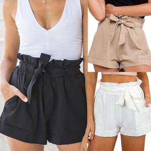 Frauen beiläufige Art und Weise Sommer-hohe Taillen-Schärpen feste gerade Baumwoll elastische Taillen-Crepe Hot Shorts Shorts