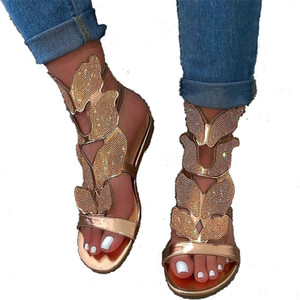 Mariposa de cristal mujeres sandalias del Rhinestone de la hebilla de la correa plana Zapatilla Negro de oro ahueca hacia fuera los zapatos de la señora del diseñador al aire libre playa sandalias