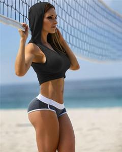 Summer Sports Sexy Frauen Short Hoodies Yoga Laufen U-Ausschnitt Damen Sweatshirts atmungsaktiv Damenmode