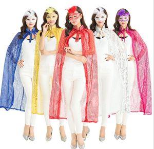 sexy mantello da ballo in maschera da donna mantello halloween cosplay da donna con paillettes mantello costume adulto prop party festival paillette mantelli da strega