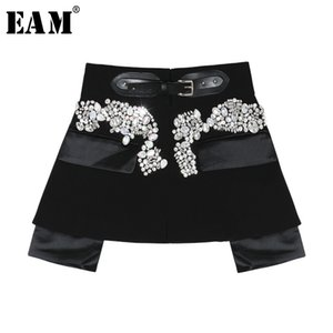 [EAM] 2020 New Spring Autumn High Waist Black Beading Blingbling Spliced Personality Short Half-body Skirt Women Fashion JY758 Y200704