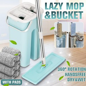 Hand Free Wringing Flat Squeeze With Bucket Microfiber Floor Cleaning Spray Mop Dry Wet Dual Use Home Mops T200703