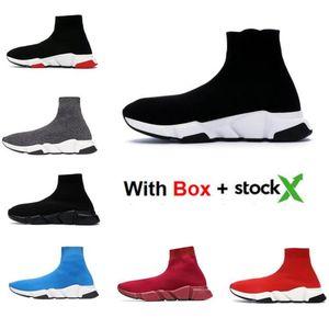 2020 nuevos zapatos de velocidad Calcetines Entrenador Negro Rojo Calcetín Hombres Mujeres Moda zapatillas de deporte de alta calidad con la caja