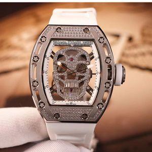 New RM052 Skeleton Diamant-Schädel-Kopf-Miyota Automatik Herren-Uhr-Stahl-Diamant Case / Lünette 052 weiße Kautschukarmband Herrenuhr Hello_watch
