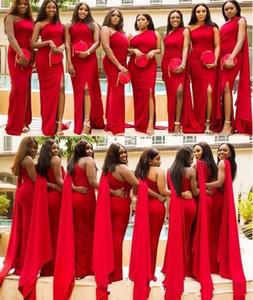 2020 barato árabe Rojo sirena vestidos de dama de honor de un hombro lateral abierto de longitud de largo vestido de novia de visitantes Maid formal de honor Vestidos