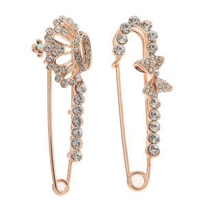 2pcs grande cristal Safty Pin Crown Knot broche Corsage For Women Bridal
