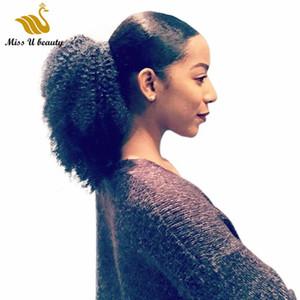 4B 4C afro rizado rizado Cola de caballo extensiones de clip en 100gram pelo humano de Remy colas de caballo de pelo natural
