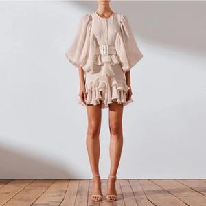 Австралийский стиль модного подиума Vintage стиль плиссированного многоуровневый протекающим фонарь рукав ремень платье