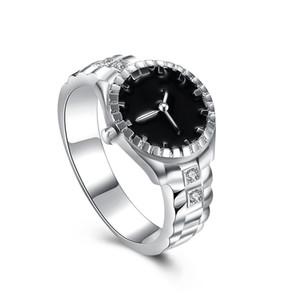 Unico progettato Anelli d'argento imitazione placcato orologio modello S925 Argento Cinghia anello alla moda unisex Individualità Sorpresa regalo POTALA887